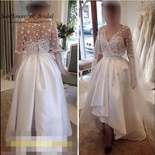 Buy 2017 Luxury High Low Wedding Dress Half Sleeve Sexy Front Short Long Back Bridal Gowns Romantic V Neck Bride Lace Wedding Dress for $140.40 in AliExpress store