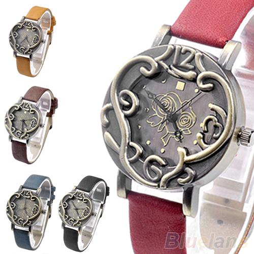Винтажный ретро женщины бронза роза цветок перистые стильный кварцевый аналоговый часы для мужчины часы 2KWX