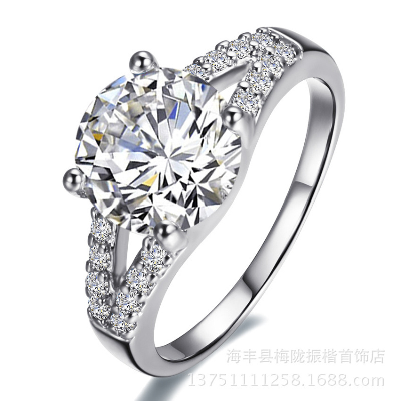 Ms. ring crossed 925 fingers compatible with Pandora CZ paving deluxe hot princess married women Engagement Ring Jewelry(China (Mainland))