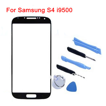 Free Shipping Black 100% Quality good Original Outer LCD Touch Screen Lens Top Glass For Samsung S4 i9500+Free tools