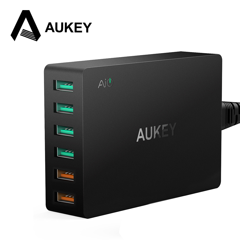 AUKEY Multi USB Charger Dual Quick Charge 3.0 Ports + 4 USB Ports Fast Turbo Wall Charger for Samsung LG G5 iPhone iPad &More PC(China (Mainland))