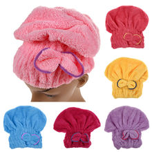 Free Shipping Home Textile Microfiber Hair Turban Quickly Dry Hair Hat Wrapped Towel Bath K5BO(China (Mainland))