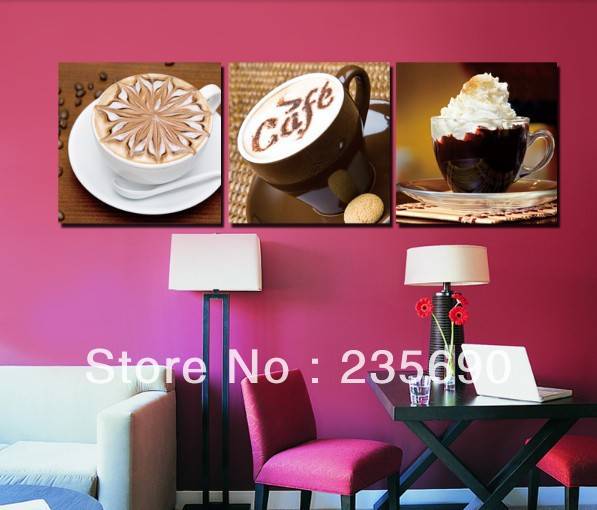 High quality Hand-painted! Wall Art Coffee Home decoration Modern Still Life oil painting on canvas 3pcs/set 16*16inch Free Ship(China (Mainland))