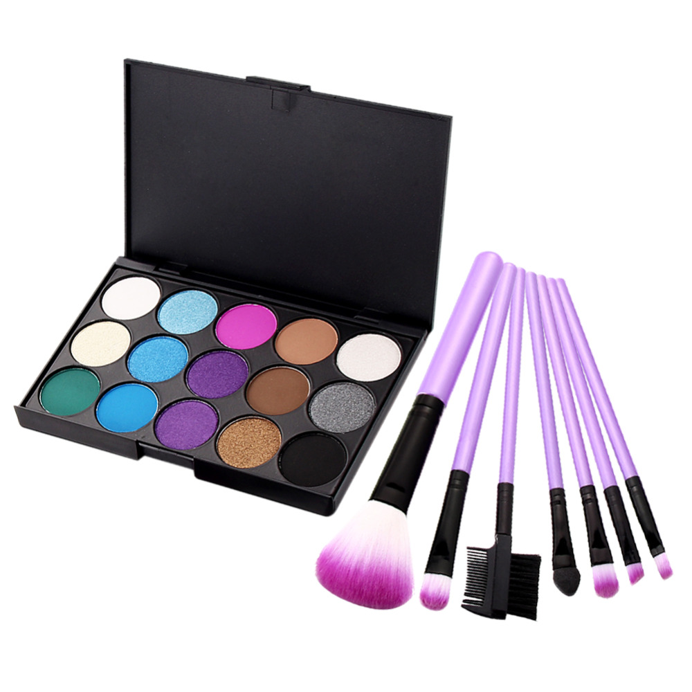 Promotion Cool Color Eye Shadow 7PCS Makeup Brush 15 Colors Matte Pigment Cosmetic Eyeshadow for women(China (Mainland))