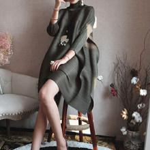 LANMREM2019 Весна Новая мода длинный рукав водолазка сплошной цвет свободные складные длиной до колена A-line винтажное платье для женщин EB015(China)