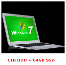 14inch computer laptop ultrabook PC 1TB HDD & 64GB SSD 4GB RAM  J1800 2.41Ghz processor WIFI HDMI webcam(China (Mainland))