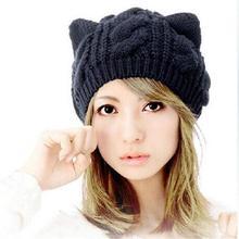 Women Warmer Beanie Devil Horns Cat Ear Crochet Braided Knit Ski Wool Cap Hat#68673(China (Mainland))