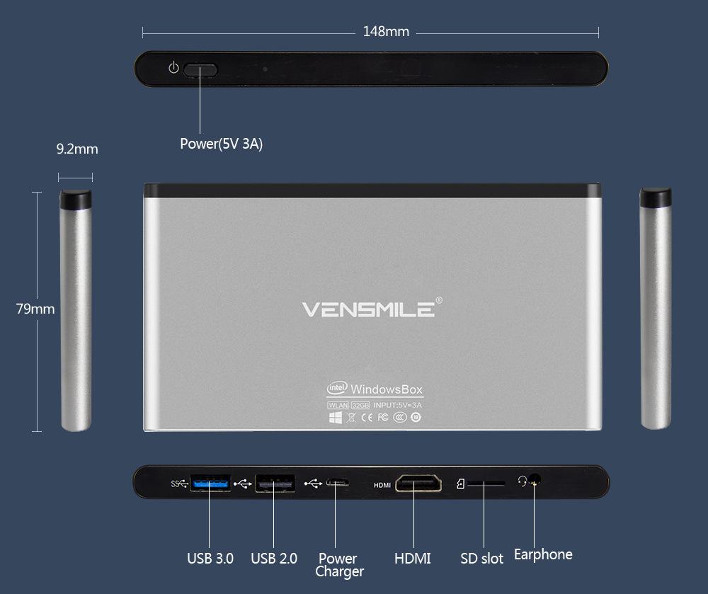 Vensmile IPC002 Plus Intel Cherry Trail Z8300 Windows 10 2GB/32GB Quad Core Dual-band Wi-Fi 2.4GHz 5GHz BT4.0 TV Box Mini PC(China (Mainland))