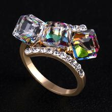 Luxury Multicolor Crystal Ring 18K Gold Plated Made With Genuine Austrian Crystals Cute Rings Wholesale(KA0012-3)(China (Mainland))