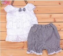 Kids Clothing Set New Summer Lace Children Girl Clothes Set T Shirt And Lattice shorts Pants