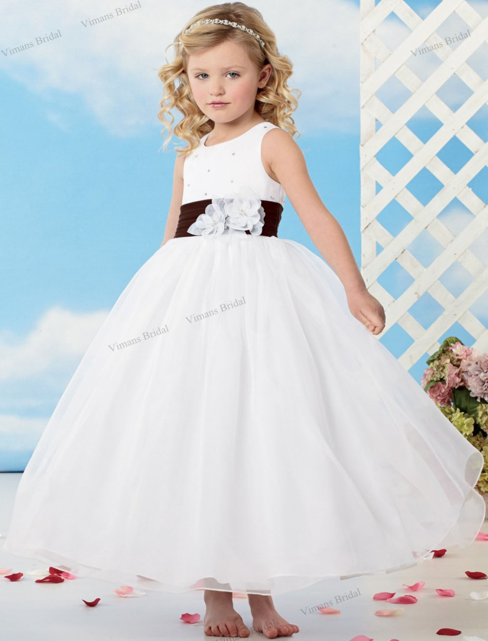 2015 free shipping white flower girl dress ball gown for Wedding dresses for child
