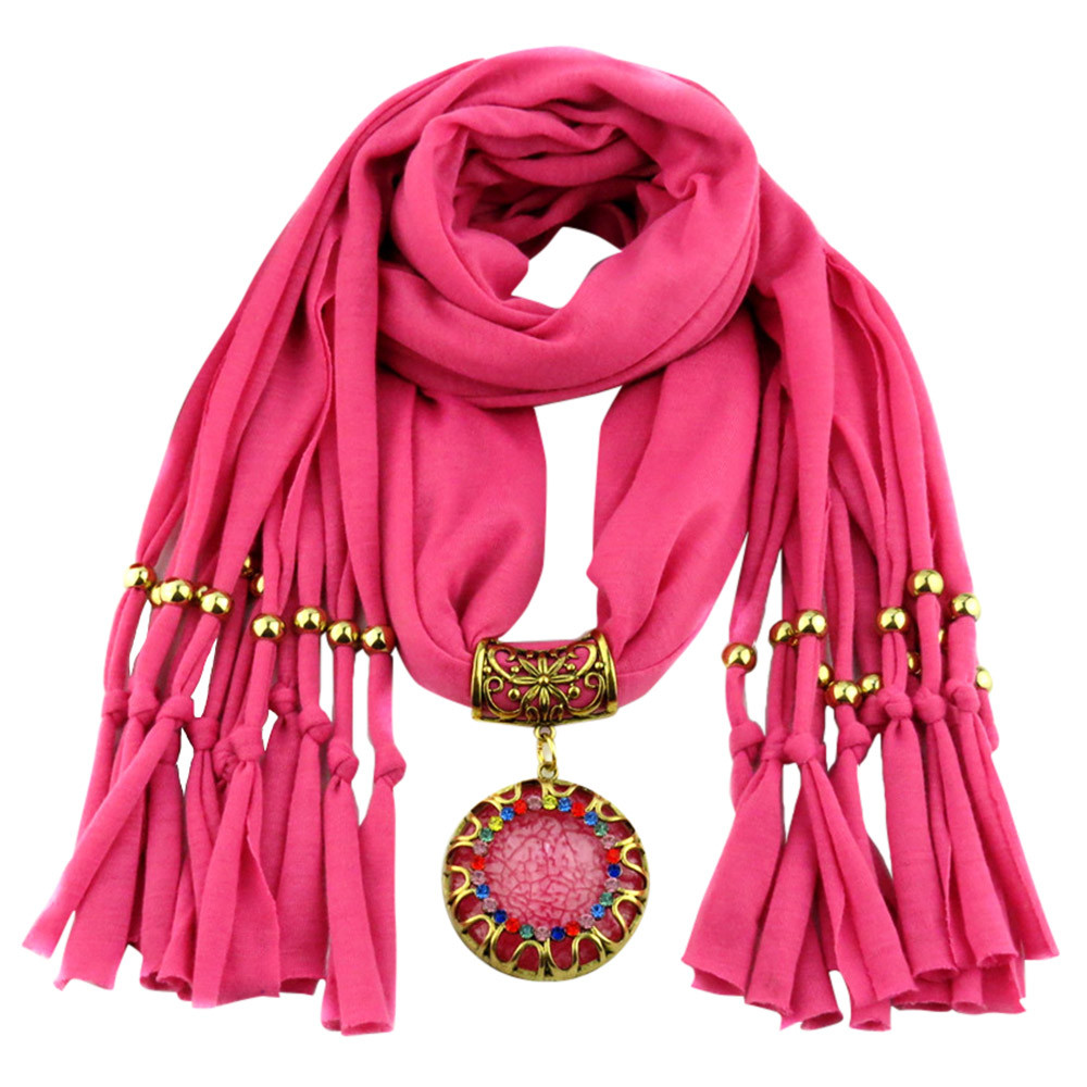 Hot Women's Autumn Winter Scarves Circle Pendant Color Rhinestone Jewelry Necklace Scarf Lady Tassel Warm Scarf  Bufandas Mujer