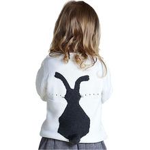 2016 Spring baby girl & boy sweatshirts kids boutique knitted 3D cartoon rabbit mother daughter sweatshirts children shirts(China (Mainland))