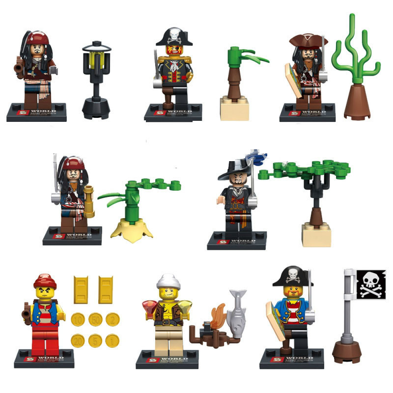 Wholesale 80pcs baby toys SY273 pirates of the caribbean Captain Jack Sparrow Davy Jones Maccus minifigures building block toys(China (Mainland))