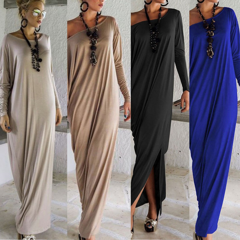 Women Long Dress Long Sleeve Maxi Dress Casual Sexy Fall Full Sleeve Loose Wrap Oversize Irregular Elegant Party Dresse vestidos (12)