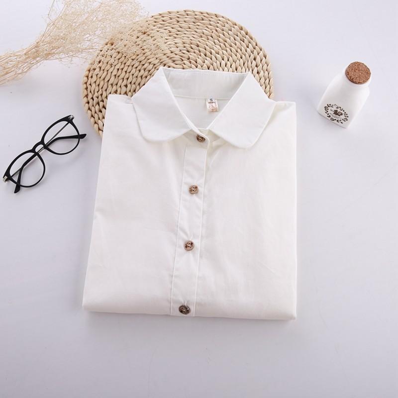 White cotton blouse women ladies ol elegant tops 2015 for White cotton shirt peter pan collar