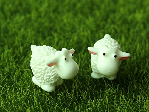 50pcs Cute Sheep Miniatures Fairy Garden Decorations Resin Bonsai Figurine Mini Gnome Moss Animals Garden Home Toys Gifts(China (Mainland))