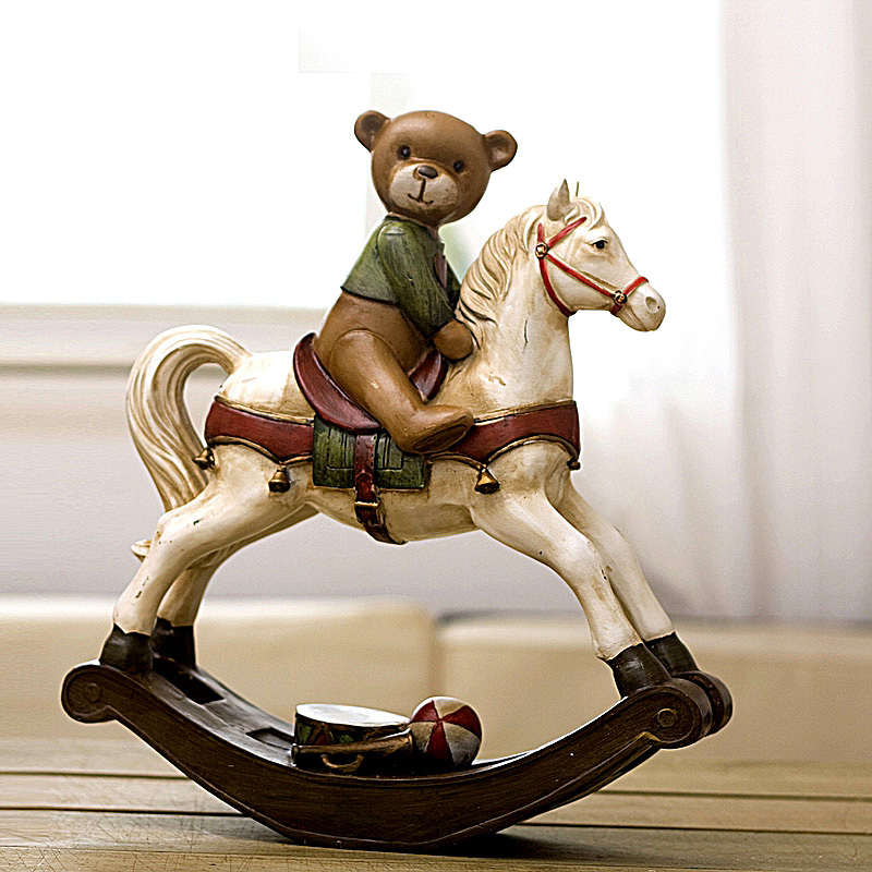 Soft time American country upscale home accessories resin ornaments hand painted decorations Matt Bear Rocking Horse