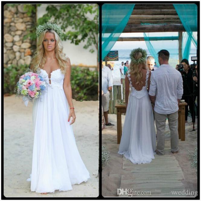Дешевые пляж свадебные платья 2016 бретельках кружева аппликации шифона спинки летний стиль свадебные платья