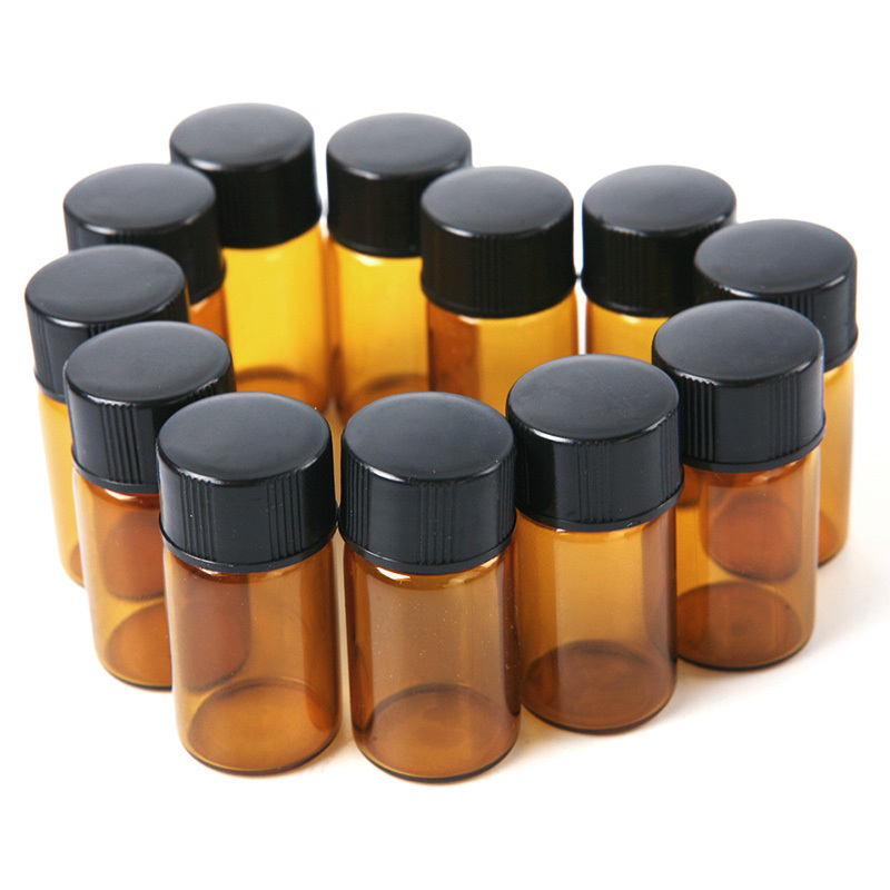 12PCS Amber Glass Essential Oil Bottle perfume sample tubes Bottles 2 ml (5/8 dram) ZH204(China (Mainland))