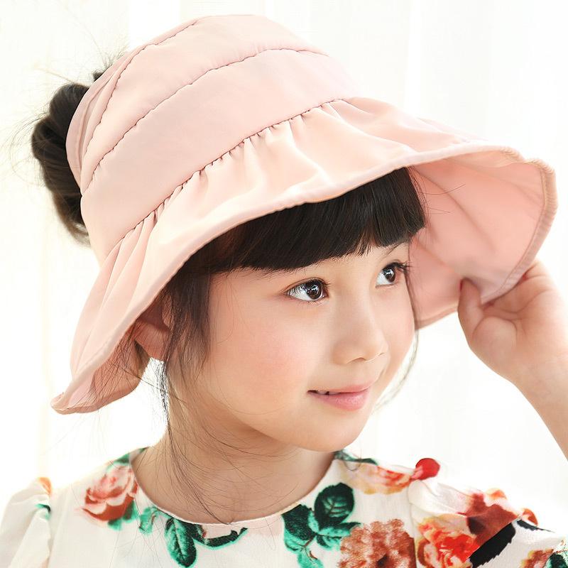 Summer Kids Cap Fashion Sun Visor Hat Baby Girl Large Brimmed Bucket Hats Cute Folding Waterproof snapback Caps(China (Mainland))