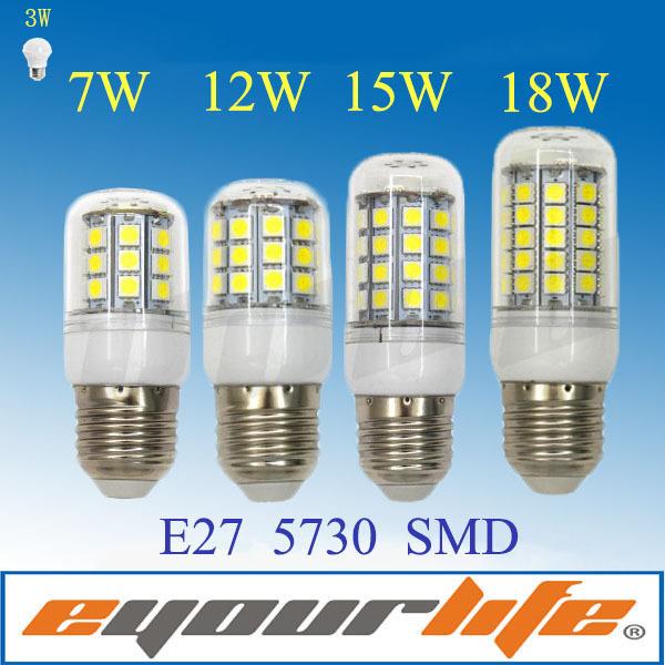 Eyourlife lampada led 220v Corn Light Bulb E27 SMD 5730 Chip 7W 12W 15W 18w Lamp casa de levou focos bombillas led e27 ampolleta(China (Mainland))