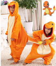 Pokemon Charmander Cosplay Jumpsuit Costume For Children Kids Onesie Clothing For Halloween Carnival