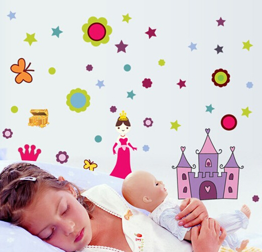 Free shipping Decorative princess tower baby dream wall stickers art decals(China (Mainland))