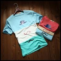 Продажа Летняя Мужская одежда топы тройники мужчины пэчворк очки шляпа медведь печати короткий рукав t рубашки o шея уличной футболку