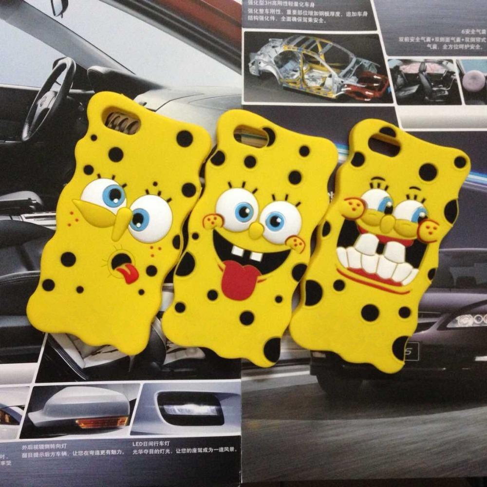 Hot 3D Cartoon SpongeBob Soft Silicon Case Back Cover Skin Bikini Bottom Boat Phone Bags For Iphone 4 4S 5 5S 6 4.7 inch / plus(China (Mainland))