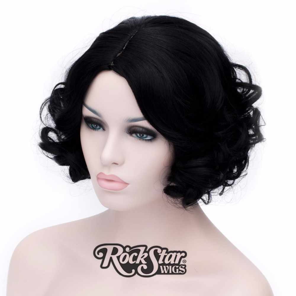 Short anime Snow White cosplay wig peluca,heat resistant kanekalon synthetic hair wig peruca,balck women's central part hair wig
