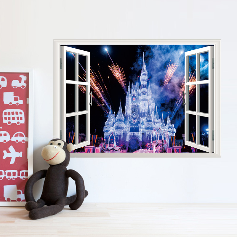 PVC Romantic Fireworks Castle Window View Decal Wallpaper Poster Mural Home Decor wall stickers for kids gift Kids Girl's room(China (Mainland))