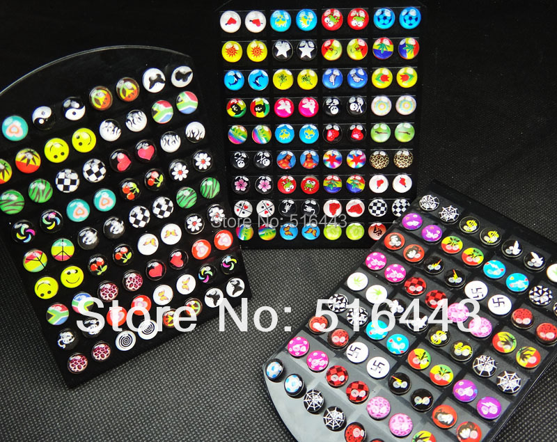2015 21Mix Stainless Steel Fashion Enamel Hypoallergenic Stud Earrings+display stand Womens Mens A225 - Edna Jewelry store