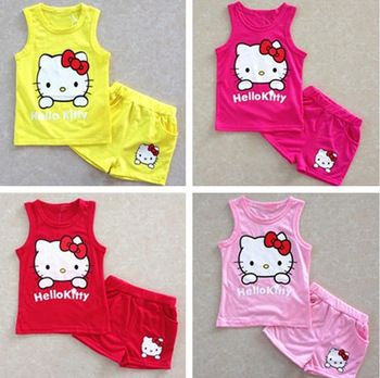 New arrival fashion cute hello kitty children clothing sleeveless T-shirt +pants children kids suit kids clothes(China (Mainland))
