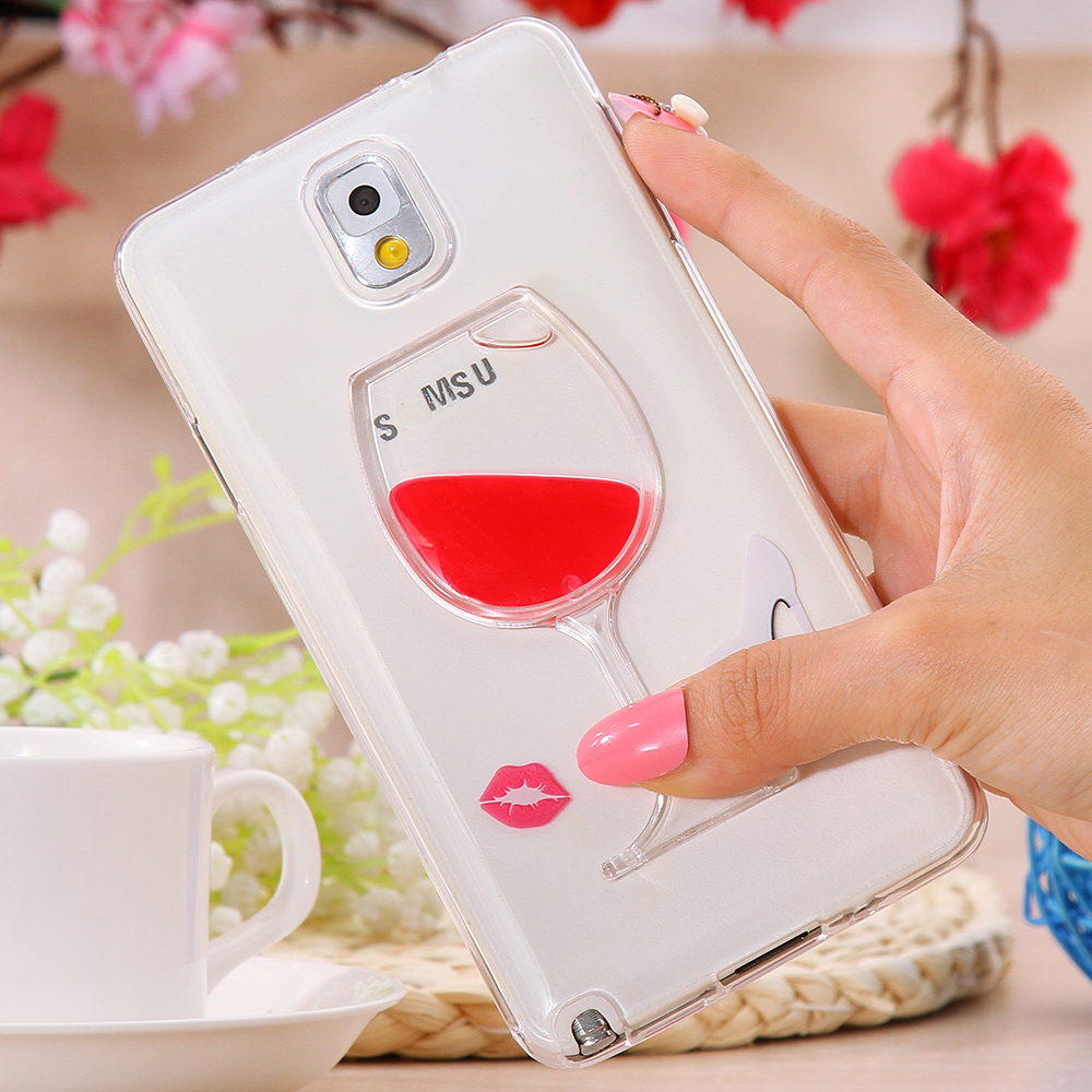 Luxe Cocktail Drink Liquid Case for Samsung Galaxy Note III 3 Smart Phone Cover Red Lip Wine Glass Bottle Soft Silicon TPU Gel (China (Mainland))