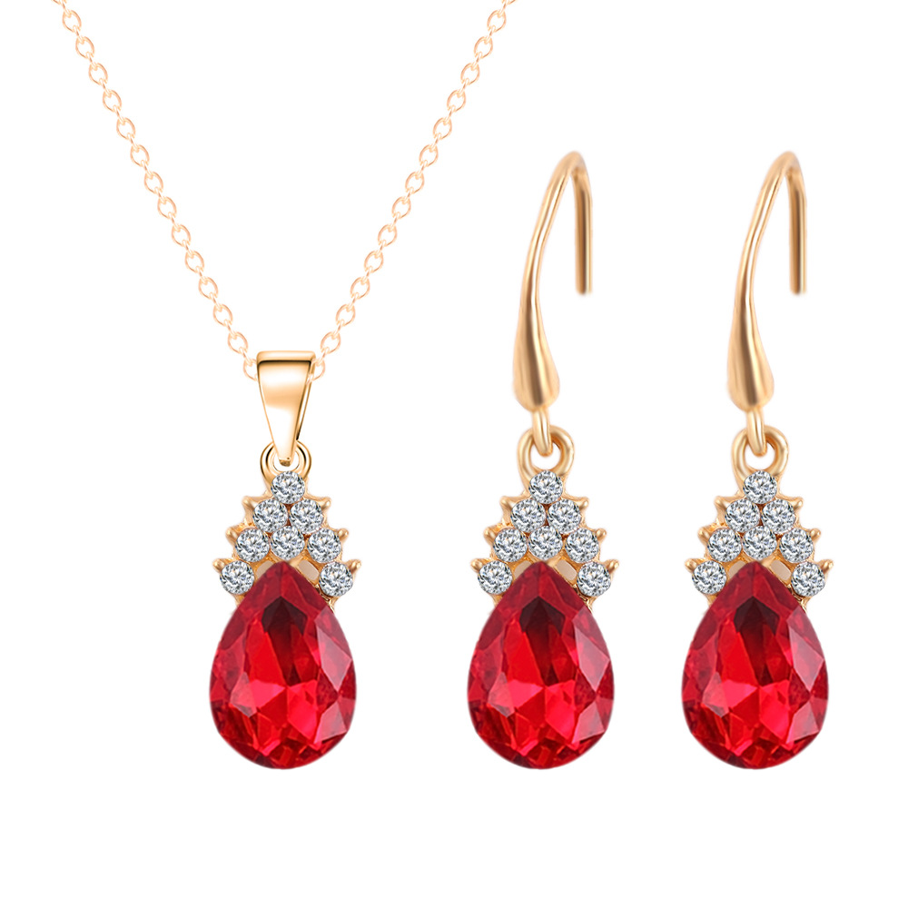 2016 New Brand Gold Plated Full Rhinestone Flower Big Waterdrop Crystal Pendnat Necklace Earrings Bridal Jewelry