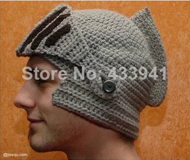 free shipping new 2014 roman knight caps cool handmade knitted ski mask hats for men beard octopus novelty beanies(China (Mainland))