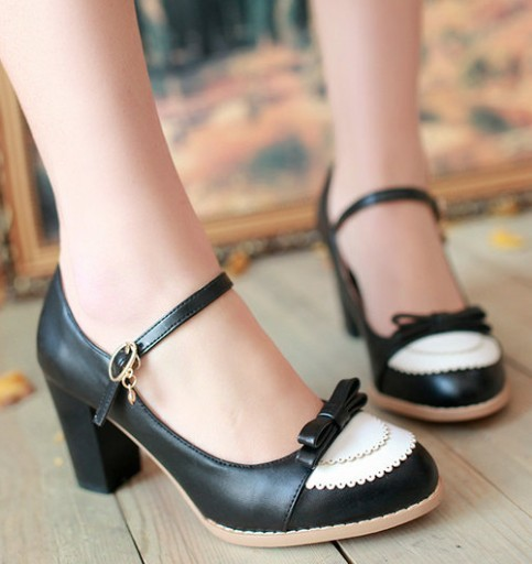 Dropshipping Blue Pink Black Color Fashion Cute Bow Mary jane High Heels Pumps Shoe Women Wedding Party Shoes Sz