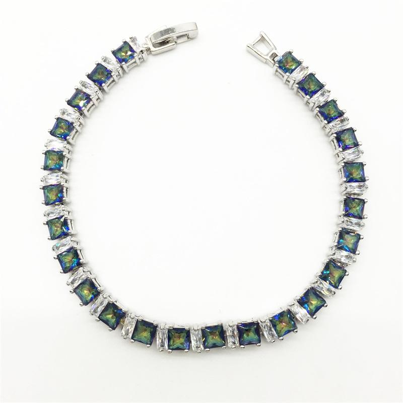 Sterling Silver Jewelry Blue Rainbow Mystic Topaz White Topaz Women Link Chain Bracelets Free shipping(China (Mainland))