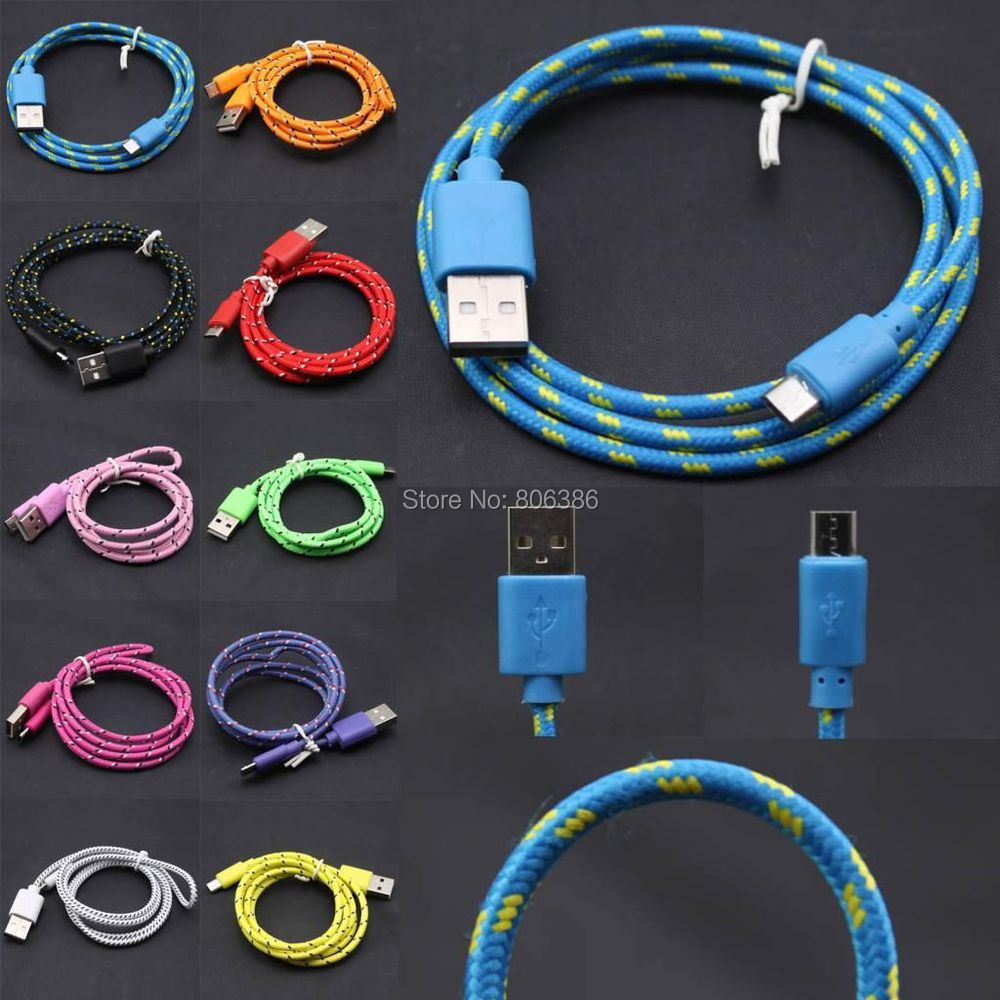 1M 2M Nylon Braided Micro USB v8 v9 Universal Data Cable For Samsung ,Cable For HTC ,Cable For LG