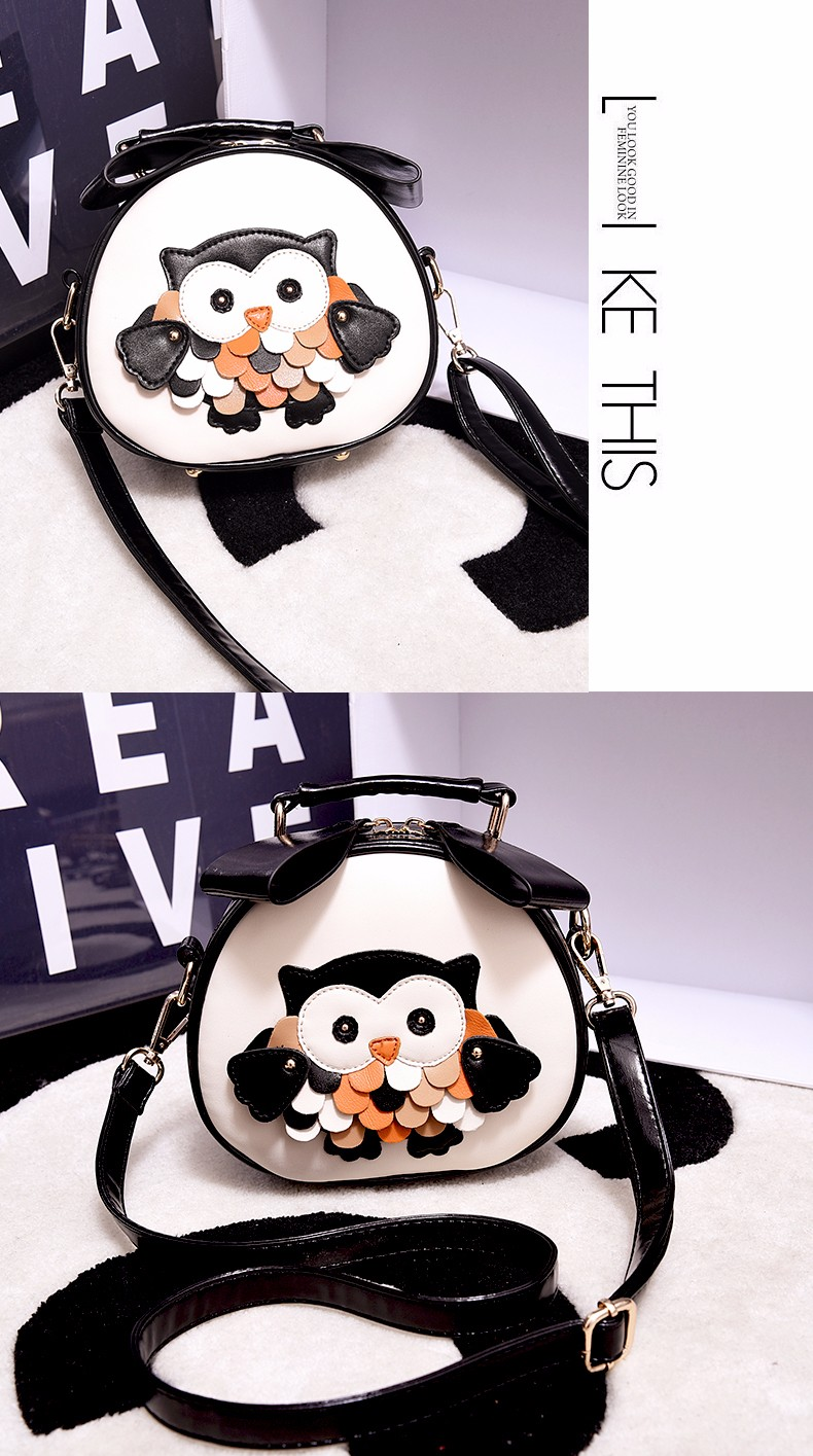 Lovely Owl Printing Ladies Mini Shoulder Bag Sweet Style Casual Small Hand Bag Fashion PU Cute Women Handbag Crossbody Bag