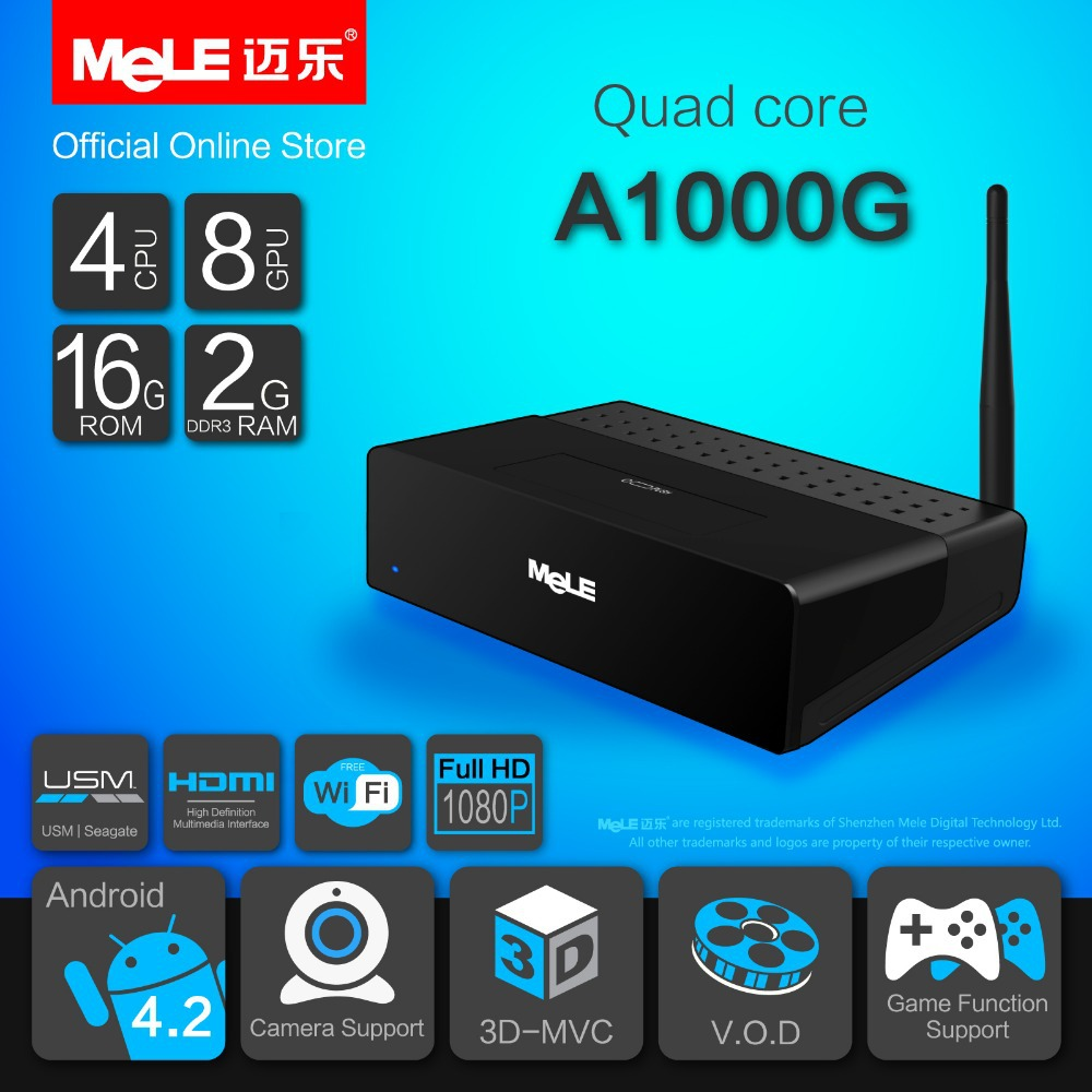 Quad Core Mini PC Android TV Box Android 4.2 MeLE A1000G Quad Cortex A7 2GB RAM 16GB ROM 4K Video 1080P HDMI WiFi Media Player(China (Mainland))