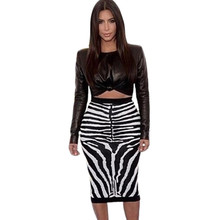 Autumn 2015 Women Black 2 Pieces Bandage Leather PU Zebra Flower Printed Sets Sexy Party Prom Long Sleeve Casual Bandage Dress(China (Mainland))