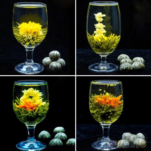 4 Balls Different Handmade Blooming Flower Green Tea Home Wedding Gift 1ON6 1SRY