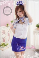 Free shipping Women Airline Stewardess Costumes White Sexy Air Waitress Costumes