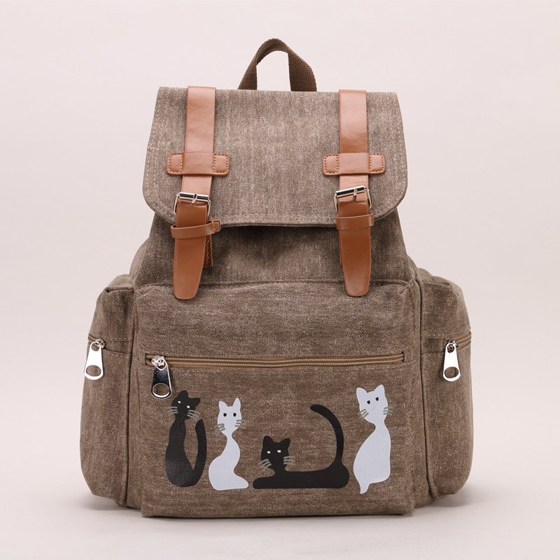 2016 Designer Women Canvas Backpacks Cat Animal Printing School Bags For Teenagers Girl Rucksack Laptop Bagpack Mochilas(China (Mainland))