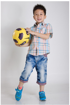 2013 Summer New Stylish Short-sleeve Turn-down Collar Plaid Children's Clothing Shirt, handsome boy  A0019