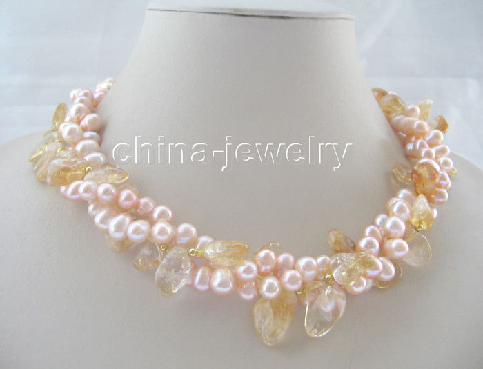 """Beautiful 18"""" 3 Strands 9-10 mm pink pearl yellow crystal necklace(China (Mainland))"""