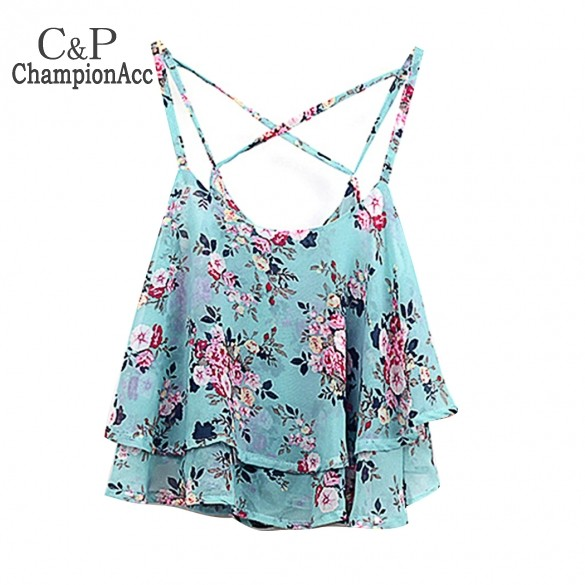 2014 Fashion Women Summer Sleeveless Tops Spaghetti Strap Flower Floral Print Chiffon Top Blouse 4 colors B2 SV003758  -  Championacc 2013 store