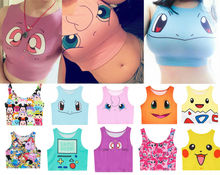 Harajuku Sexy Girls Cosplay Costume Pokemon Go Pocket Monster Sailor Moon Crystal Cute Crop Tops Vest Tank Tops Shirt(China (Mainland))